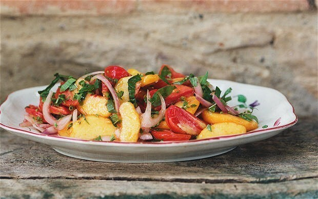 Tomato, peach, sweet onion and basil salad recipe