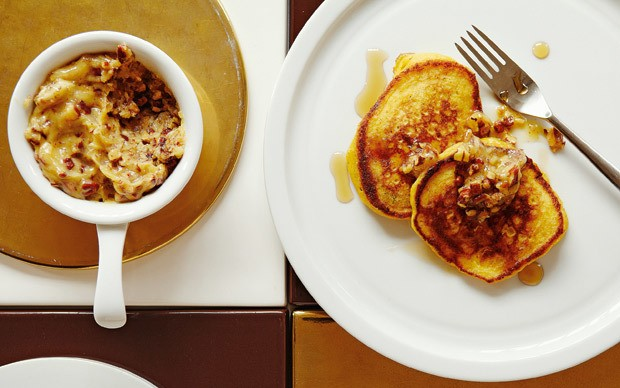 The Delaunay's pancakes with apple compote and crème fraîche recipe