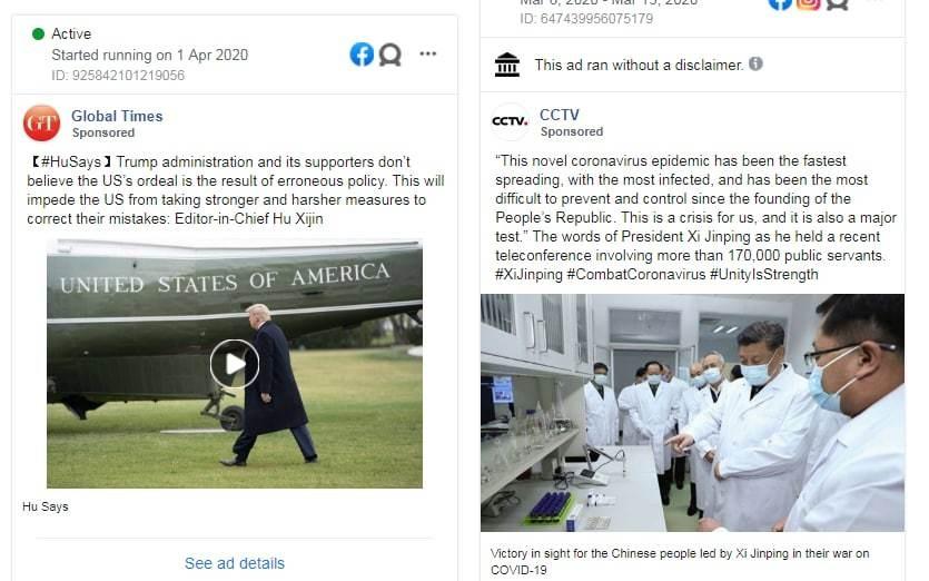 China floods Facebook with undeclared coronavirus propaganda ads blaming Trump