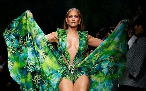 Jennifer Lopez stars on the Versace catwalk in the iconic dress she first wore 20 years ago
