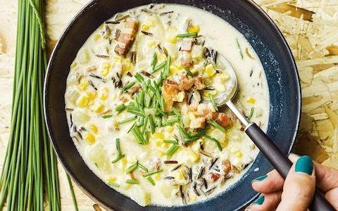 Corn, bacon and wild-rice chowder recipe
