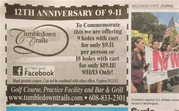 9/11 anniversary: golf course apologises for $9.11 offer