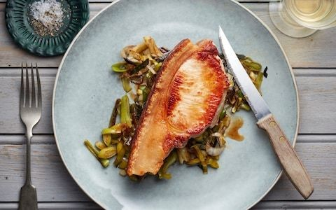 Pork chop with charred leeks recipe