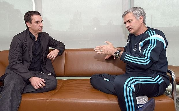 Jose Mourinho talks to Gary Neville: They wanted us to be the clowns at Anfield - we weren't having that