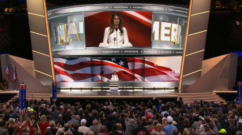 Republican National Convention day one: Donald Trump makes surprise appearance to introduce wife Melania after anti-Trump revolt fails