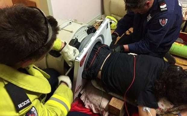 Man rescued after being stuck in washing machine for three hours
