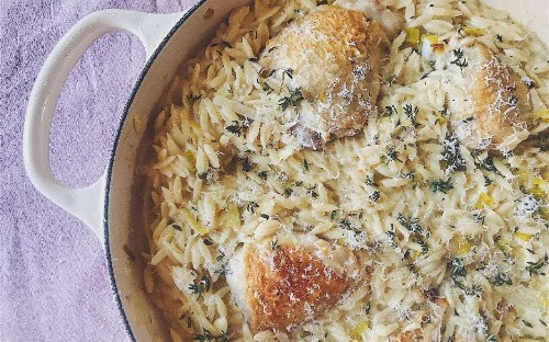 Tonight's dinner: Chicken thighs with orzo, lemon and thyme