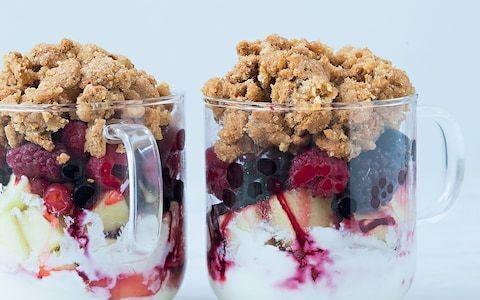 Red berries, apple, and cream cheese mug crumble recipe