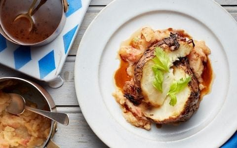 Roast celeriac with stewed apple and mushroom sauce recipe