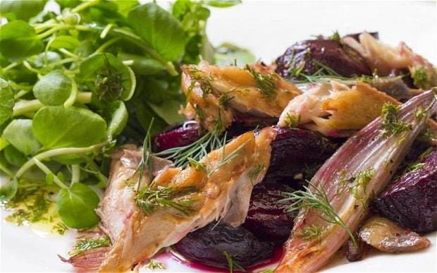 Speedy weeknight suppers: roast beetroot with smoked mackerel