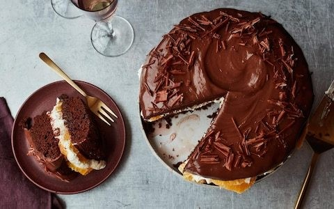 Chocolate, cardamom and blood orange celebration cake recipe
