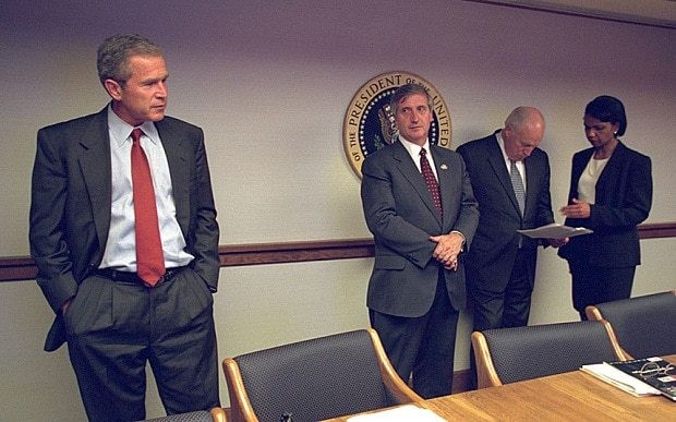 New photographs show George W Bush, Dick Cheney and Condoleezza Rice reacting to 9/11