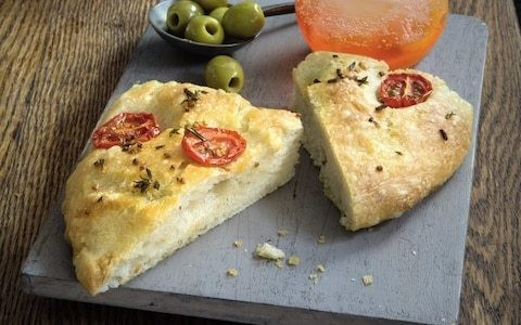 Focaccia with cherry tomatoes, rosemary and thyme recipe