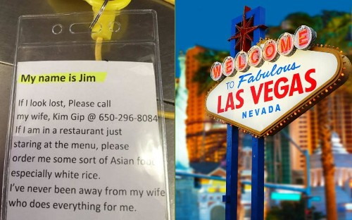 Wife makes instructional lanyard for husband to wear on trip to Las Vegas