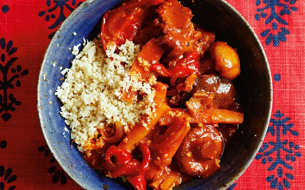 Vegetable stew with cauliflower couscous recipe