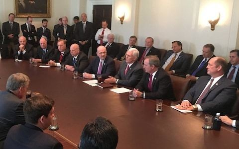 Outrage over picture of Mike Pence and all-male Republican team 'discussing plans to curb maternity care'
