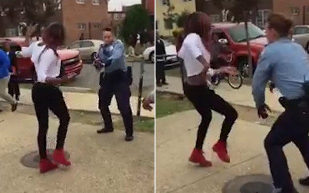 Police officer challenges fighting schoolgirl to a dance off