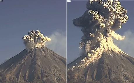 Webcam captures huge volcano eruption in Mexico