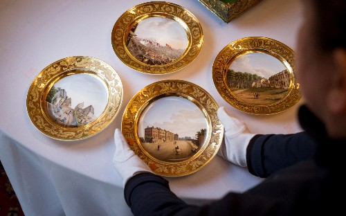 Duke of Wellington's 400-piece gilt dinner set laid out for first time