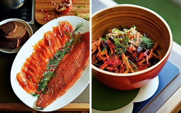 Whisky- and brown-sugar-cured salmon with apple and beetroot relish