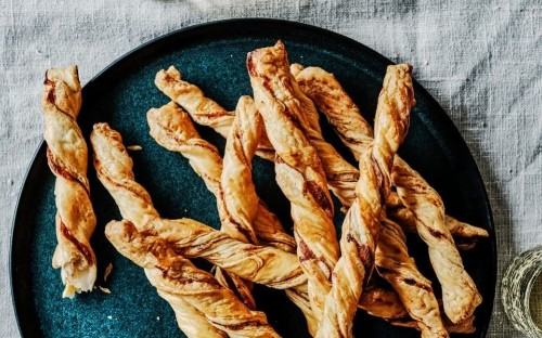 Parmesan and anchovy puff pastry straws recipe