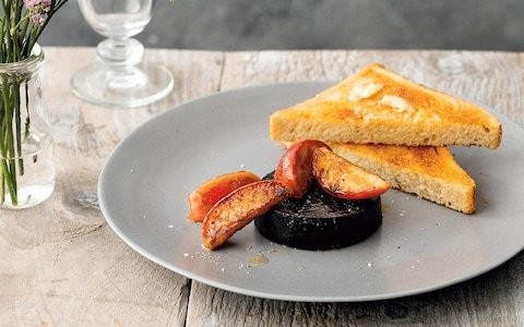 Black pudding and caramelised apple on toast recipe