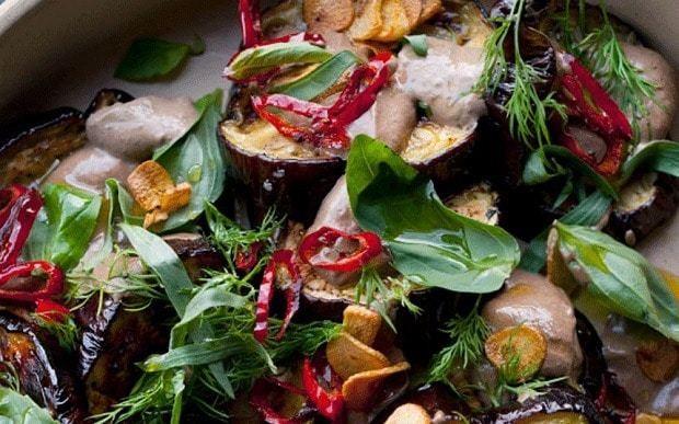 Yotam Ottolenghi's aubergine with black garlic recipe