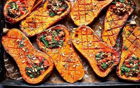 Baked butternut squash with a nutty mushroom filling recipe