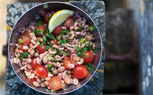 Brown shrimps with borlotti beans and cherry tomatoes recipe