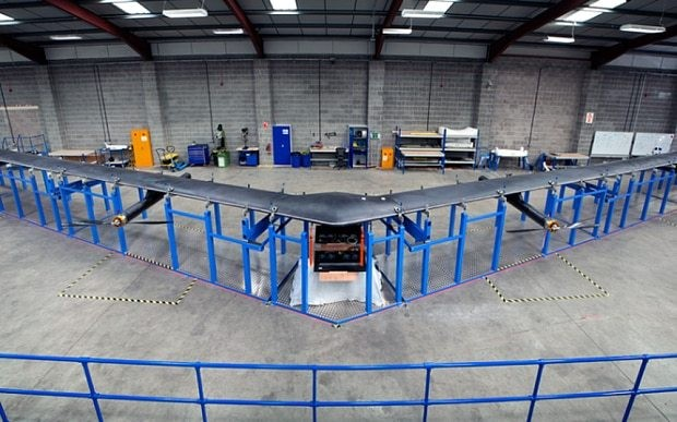 Facebook unveils solar-powered drone that can beam the internet down to earth