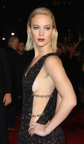 Jennifer Lawrence flashes 'side boob' as Hunger Games stars descend on London