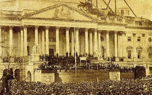 Abraham Lincoln's first presidential inauguration: A half-completed building, a history-making beard and a rare photograph from 1861