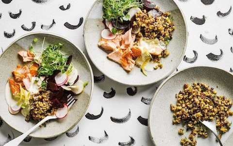 Hot-smoked salmon, beetroot and grains with preserved lemon crème fraîche recipe