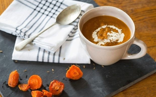 Roast carrot, tomato and dill soup recipe
