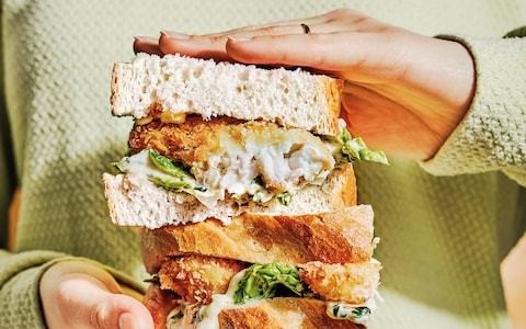 Fish-finger sandwiches with pickled-onion mayonnaise recipe
