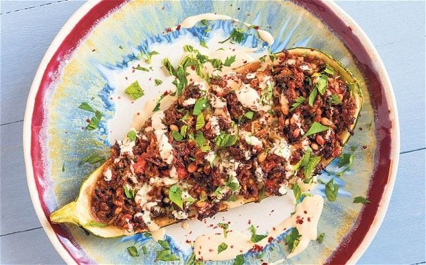 Marrow stuffed with lamb and pine nuts with tahini recipe