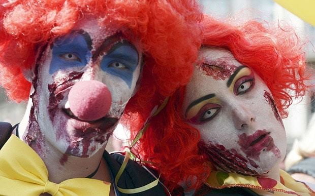 'Evil clowns' stalk France