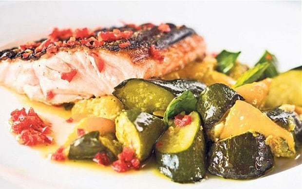 Slow-cooked courgettes with grilled salmon and red chilli sauce recipe