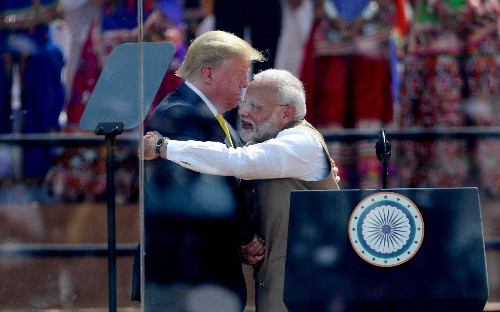 'Your nation is doing so well': Donald Trump hugs Narendra Modi at start of whirlwind India tour