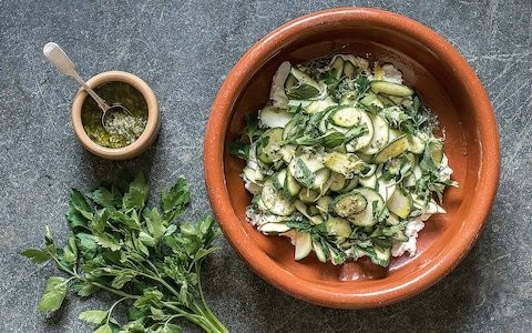 Courgette and ricotta salad with lemon and herb dressing
