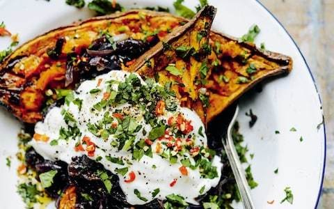 Baked sweet potatoes and Sri Lankan-spiced caramelised red onions recipe