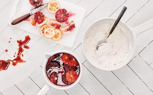 Blood oranges in caramel with sour-cream rice pudding recipe