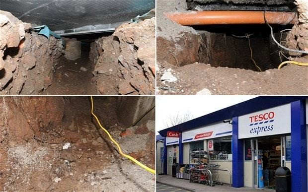 Thieves make off with thousands of pounds after tunnelling 50ft under Tesco store