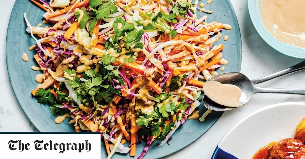 Crunchy carrot and cabbage salad with a peanut dressing recipe