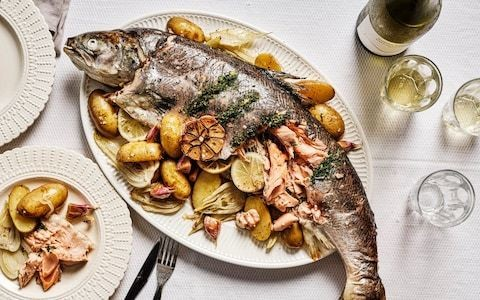 Whole roasted salmon with lemon and herbs recipe