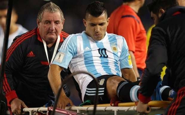 Sergio Aguero a doubt for Manchester derby after suffering hamstring injury with Argentina