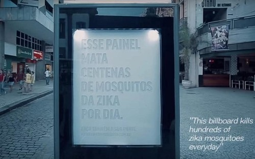 'Sweating' billboard designed to kill mosquitoes in fight against Zika virus