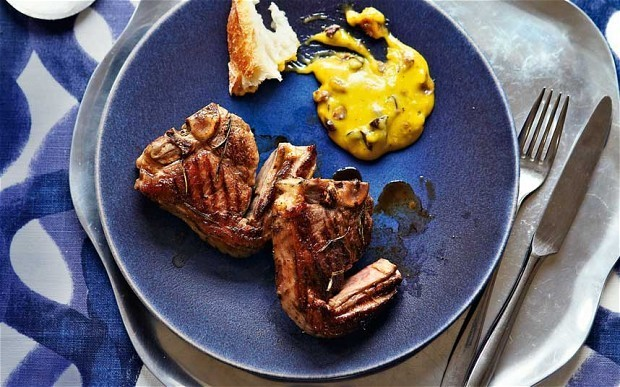Lamb chops with anchovy and olive aioli recipe