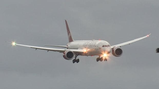 Plane attempts treacherous landing as Storm Doris winds batter Britain