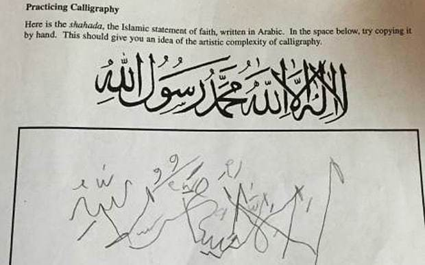 Protests shut schools after pupils asked to copy Islamic script